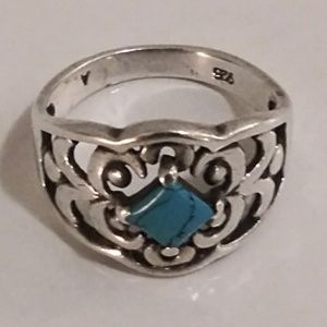 Jewelry - 925 Stamped Sterling and Turquoise Ring Size 8